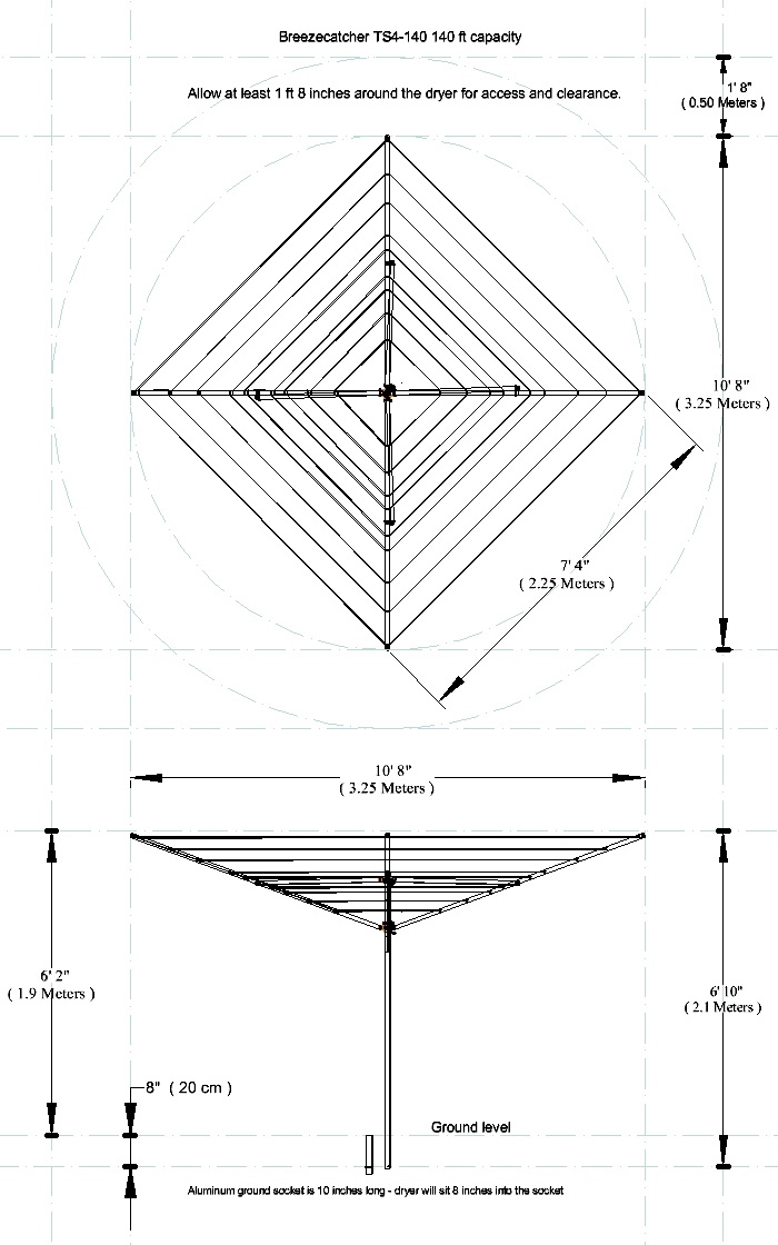 Rotary clothesline measurements